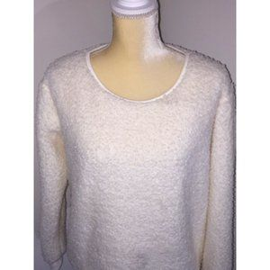 Mentally Exhausted Cream Fuzzy Cozy Sweater